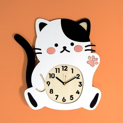 [나룸] WMC-167 젖소냥 고양이 벽시계(무소음)