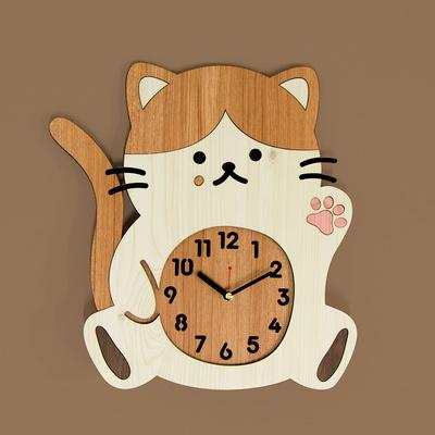 [나룸] WMC-166 치즈냥 고양이 벽시계(무소음)