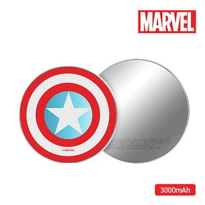 마블 캡틴아메리카-아이언맨 보조배터리 3000mAh 원형