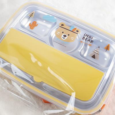인디베어 수저케이스식판도시락세트-수저케이스식판 수저 포크 가방