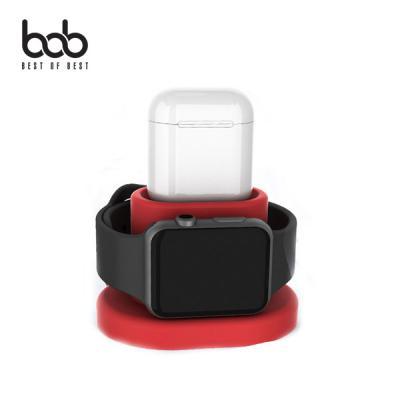 bob 에어팟+애 플 워치 2in1 실리콘 충전도크 듀얼 거치대 (케이블미포함) 간편거치 동시충전