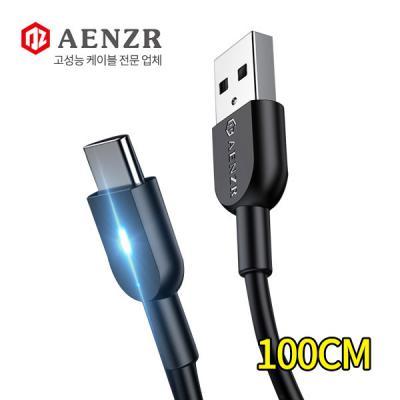 AENZR USB to Type-C LED 고속충전 숏 데이터케이블 3A 100CM 갤럭시폴드 노트10 S9 8 A90 호환