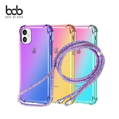 bob 레인보우 트래블러 숄더 스트랩 핸즈프리 케이스 아이폰SE 11 프로 XS 맥스 XR 8 7 6S 플러스
