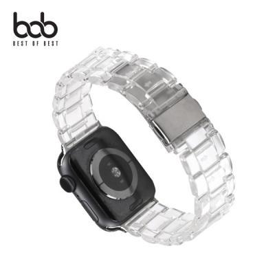 bob 아이 워치 아이스큐브 투명 체인 원터치버클 스트랩 밴드 시계줄 Apple Watch 5 4 3 2 1