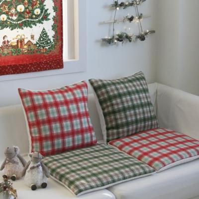 크리스마스 체크 양털 방석