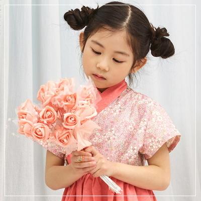여아 한복 반팔 코스모스 핑크 생활한복