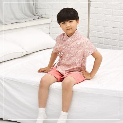 남아 한복 반팔 코스모스 핑크 생활한복