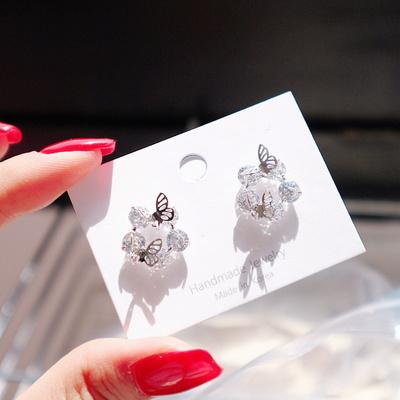 (silver925) 투명 유리알 나비귀걸이