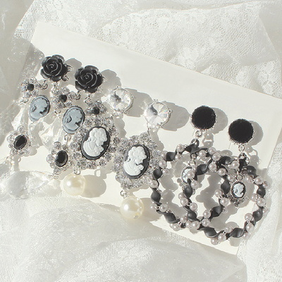(silver925) 블랙 페미닌 귀걸이3개세트