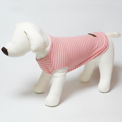 파스텔독 강아지 스트라이프 여름 나시 티셔츠