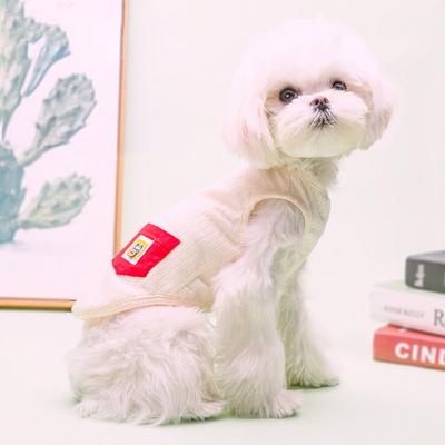 강아지 에어메쉬 포켓 민소매 나시티