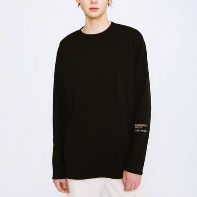 니들 포인트 롱 슬리브 티셔츠 블랙