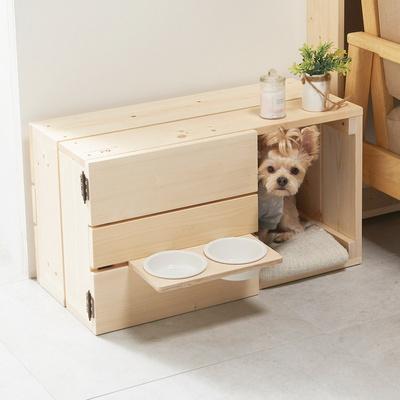 강아지 고양이 원목하우스 원목 반려동물 식탁