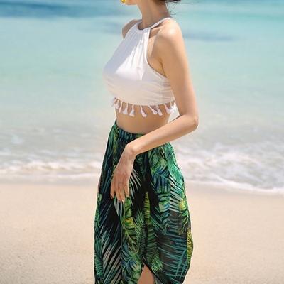 트로피컬 여름 비키니 수영복 여성 비치웨어 섹시 홀터넥