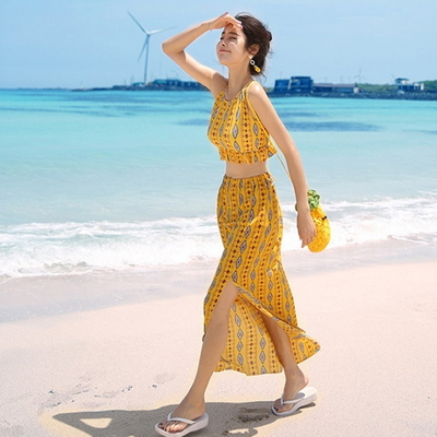 옐로우 섹시 홀터넥 수영복 여자 비키니 세트 스커트 비치웨어 3 pcs