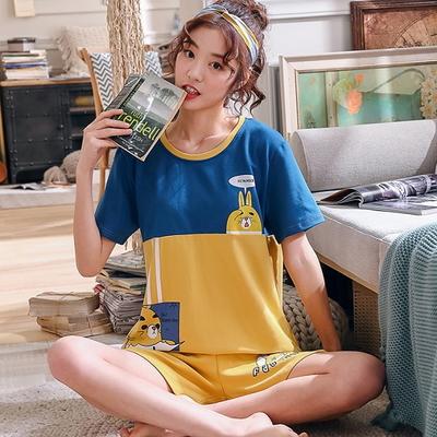 바니 베어 투톤 캐주얼 여성 홈웨어 3부 반바지 면 잠옷 반팔 파자마 세트