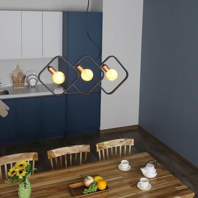 카페조명 인테리어 팬던트 다이아 17809 3등 블랙 1.3M