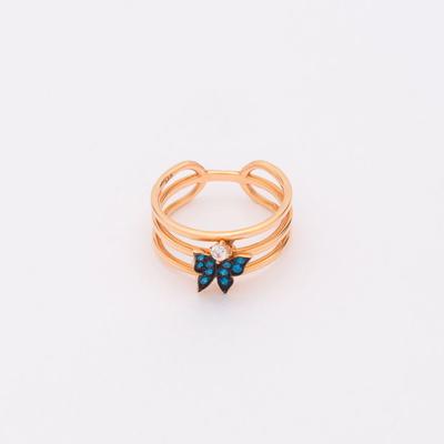 [주문제작] 디유아모르 14k 반지 쓰리라인 나비 링