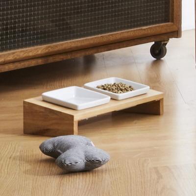 해빗 원목 펫 식기 식탁 2구세트 강아지 고양이 밥그릇