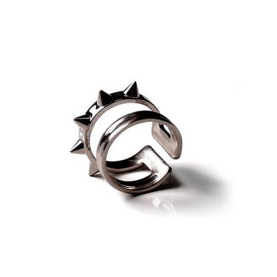 스터드 라인 반지 - 블랙