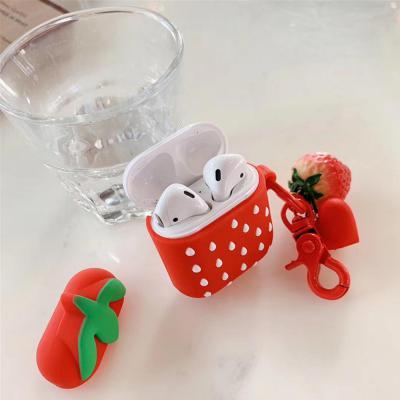 차이팟 에어팟 1 2세대 호환 딸기 디자인 실리콘 케이스 분실방지 키링 세트 악세사리