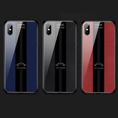 아이폰 XR XS MAX 8 7플러스 카본 가죽 무늬 디자인 강화유리 하드 케이스