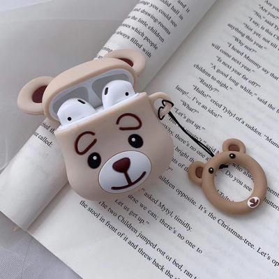 차이팟 에어팟케이스 1 2세대 곰돌이 캐릭터 실리콘 고리 키링세트 악세사리 커플 추천