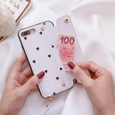 아이폰 XR XS MAX 7 8플러스 슬림핏 하트 카드 수납 지갑 스트랩 휴대폰 케이스
