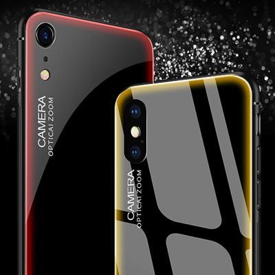 아이폰XR XS MAX 7 8플러스 테두리 컬러 라인 강화유리 하드 범퍼 휴대폰 케이스