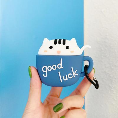 에어팟케이스 귀여운 고양이 머그컵 실리콘 커버 고리 카라비너 세트 악세사리 1 2세대 호환