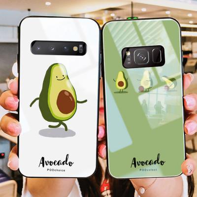 아이폰XR XS MAX 7 7+ 8 8플러스 아보카도 캐릭터 강화유리 글라스 휴대폰 케이스