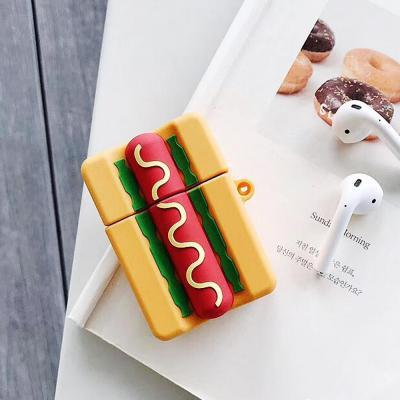 에어팟케이스 소세지빵 입체 실리콘 커버 고리 카라비너 키링 세트 악세사리 1 2세대 호환