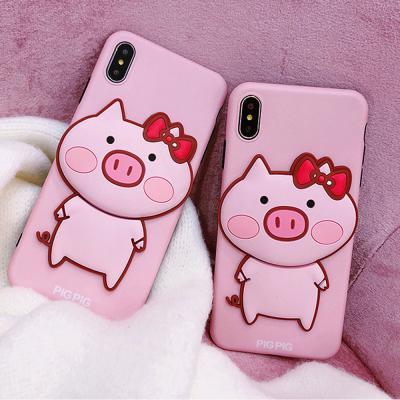 아이폰XR XS MAX X 7 8플러스/핑크 돼지 캐릭터케이스