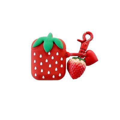 에어팟프로 3세대 입체 딸기 과일 실리콘 충전 케이스 키링 세트