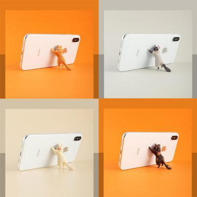 스마트폰 핸드폰 고양이 미니 피규어 흡착 거치대 책상 탁상용 소품