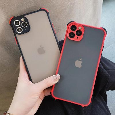 아이폰11 프로 XR X 8 7 컬러라인 범퍼 반투명 실리콘 휴대폰 케이스