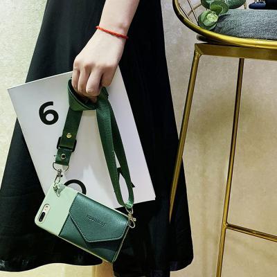 아이폰 11pro max x xs.xr se2 7 8플러스 카드수납 지갑형 + 크로스 목걸이줄 세트 실리콘 휴대폰 케이스