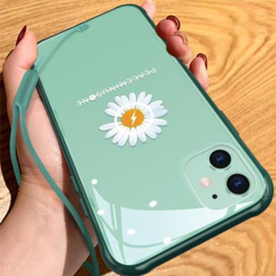 슬림 아이폰11 PRO SE2 XR X 8 7 국화 패턴 투명 하드 핸드폰 케이스