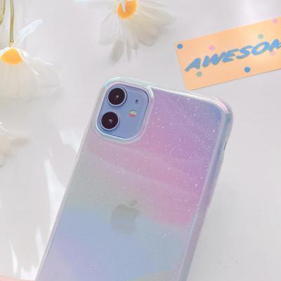 아이폰11 PRO SE2 XR X 8 7 MAX 그라데이션 투명 하드 휴대폰 케이스