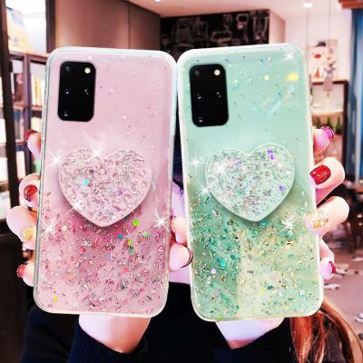갤럭시s20  S10 노트10 9 반짝이 하트 그립톡 젤리 휴대폰 케이스