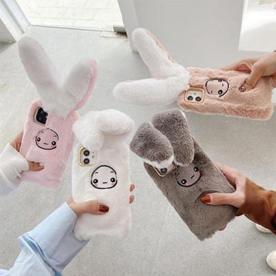아이폰11 PRO SE2 XS 8 7 움직이는 토끼귀 털 퍼 실리콘 케이스