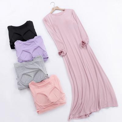 모달 브라캡 긴팔 원피스 홈웨어 잠옷