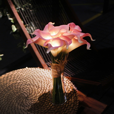 (꽃카드무료증정) 핑크 카라 부케 LED 무드등 + 화병