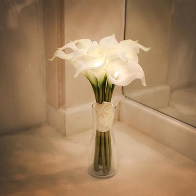 (꽃카드무료증정) 화이트 카라 부케 LED 무드등+화병