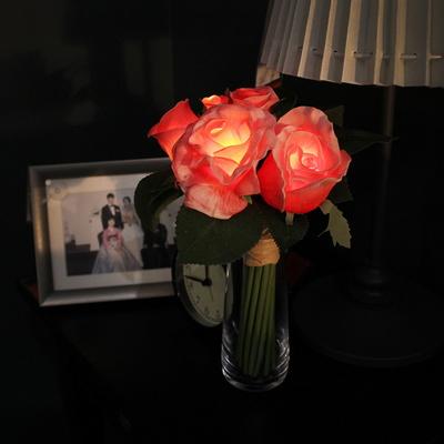 (미니캔들무료증정) 핑크 로즈 부케 무드등 + 화병