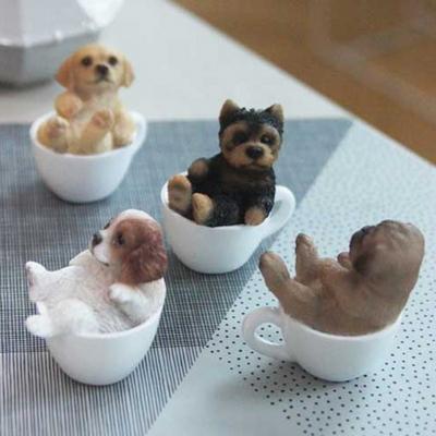 미니 컵속의 강아지 장식품 카페 인테리어 소품