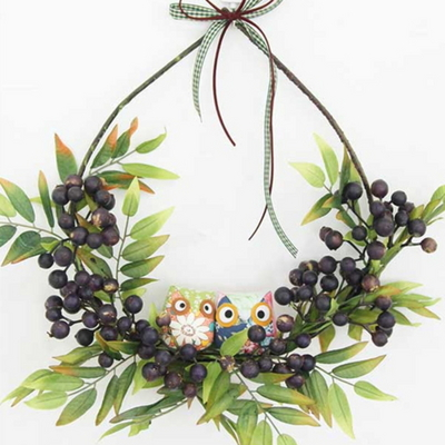 부엉이와 열매 가랜드 겸 리스 인테리어 벽 장식 조화