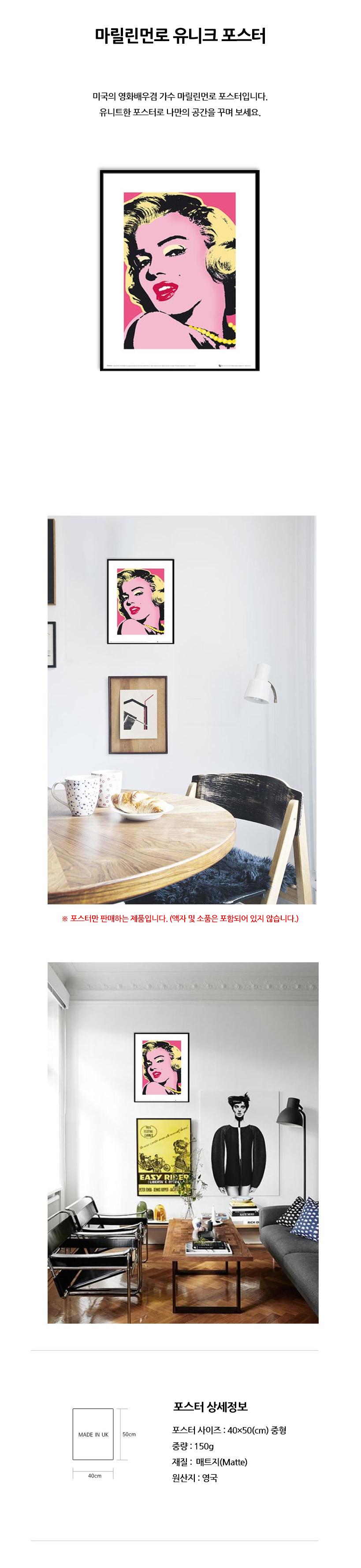 마릴린먼로 유니크 아트 포스터 (중형) - 리빙톡톡, 38,000원, 홈갤러리, 포스터