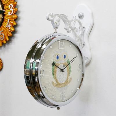 DS-국내제작 크롬 부엉이 양면 벽 시계 개업선물 인테리어