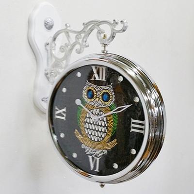 DS-크롬 부엉이 양면 벽 시계 개업선물 인테리어